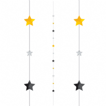 Balloon Tails - Black Silver Gold Stars Balloon Tail (1.82m) 1pc